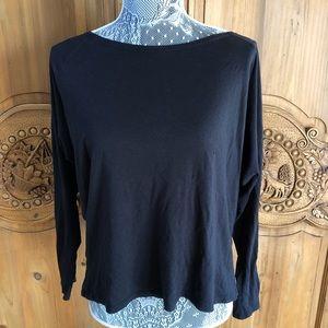 Fabletics Black Long-sleeve Open Back X Shirt L